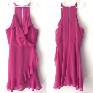 Pink Faux Wrap Dress